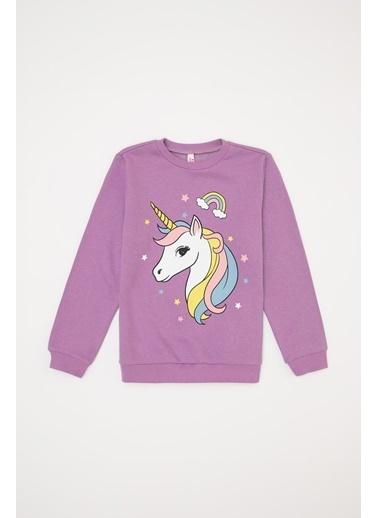 DeFacto Kız Çocuk Unicorn Baskılı  Sweatshirt Mor
